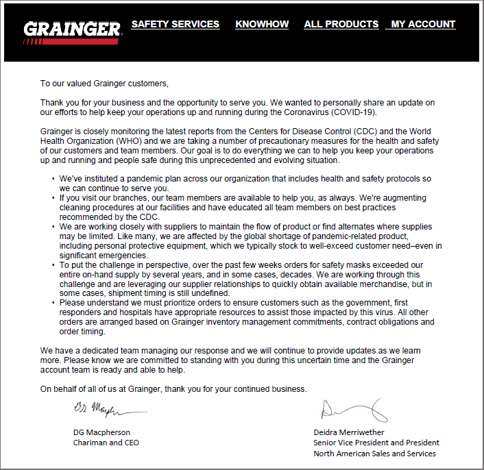 Covid Announcement Grainger