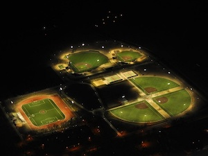 five synthetic turf baseball diamonds