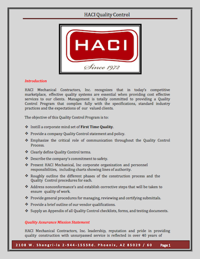 HACI Quality Control