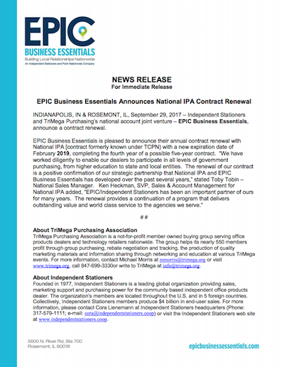 EPIC News Release