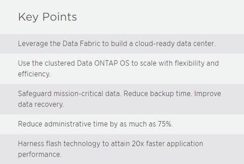 NetApp Key Points Data center