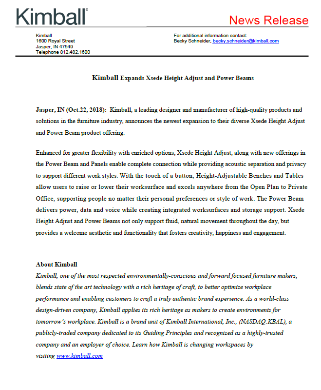 Kimball Expands Xsede HA and Power Beam press release