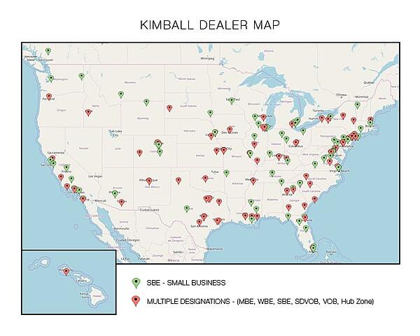 Kimball Dealer Map