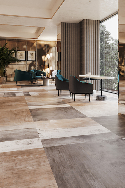 Mixte solid flooring in the lobby of an office building