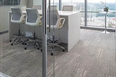 ecosphere tile in a conference room of an office building