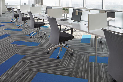 inner core tile carpeting in an office