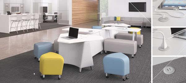 A cluster of desks and office accessories