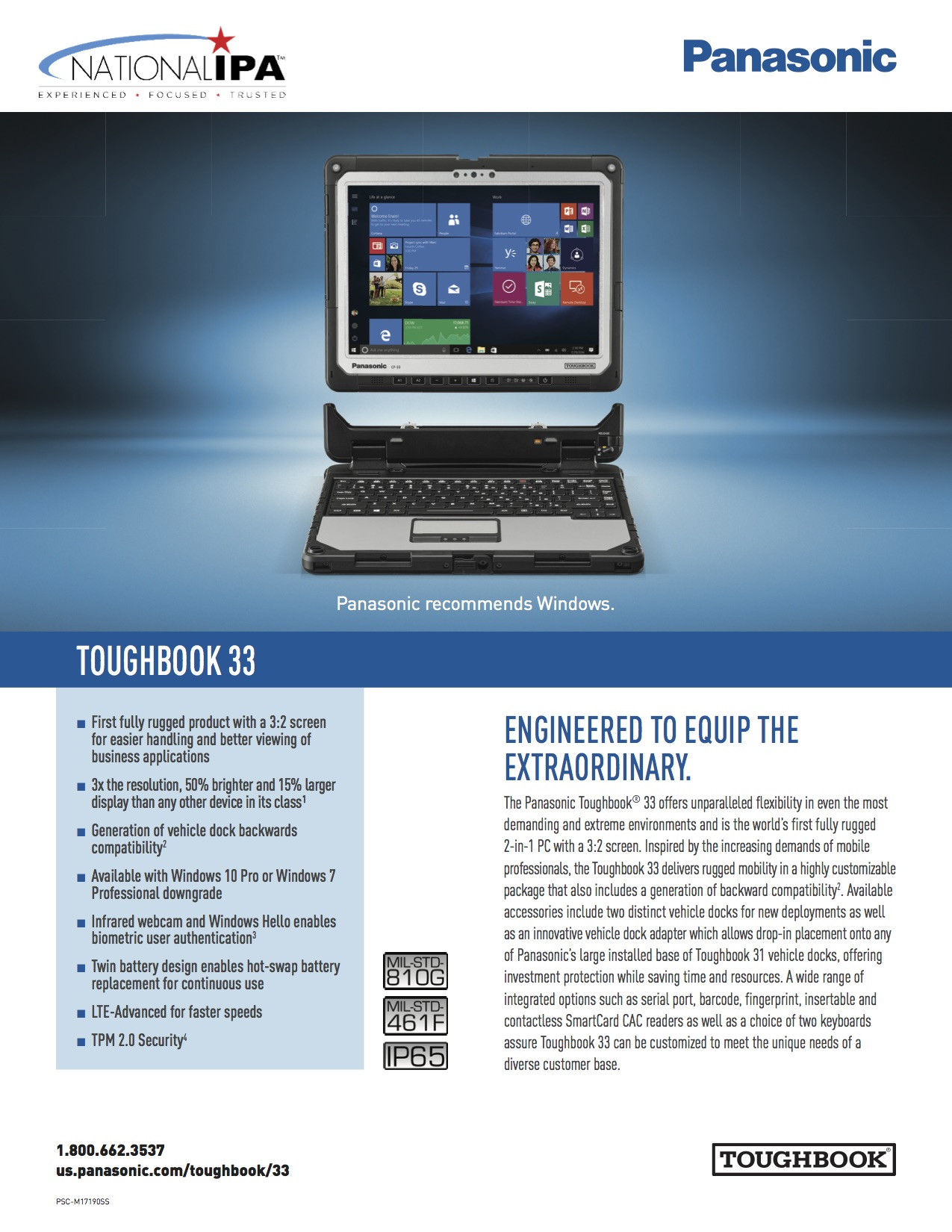 Toughbook 33 Spec Sheet with National IPA
