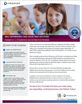 Premier K-12 Food Program Marketing Flyer