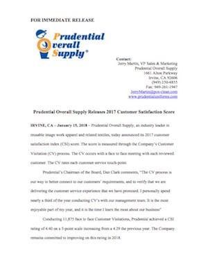 Customer Satisfaction Score Press Release