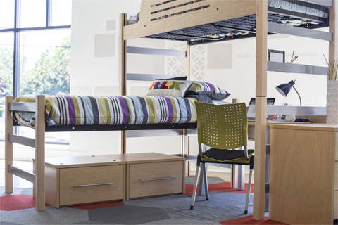 lofted beds with a desk and chair underneath in a dorm room