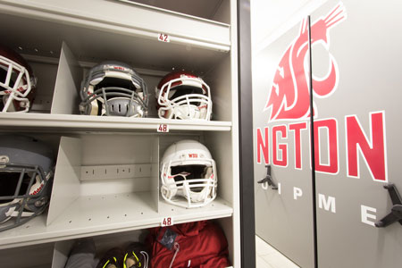 WSU Football Helmets Stored on Shelves