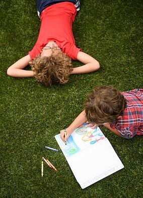 Kids Coloring on Turf