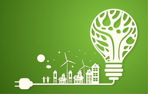 green graphic showing organic light bulb showing renewable energy