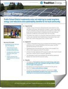 Solar Energy Case Study From Tradition Energy