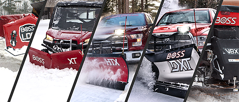 collage of BOSS plows on red vehicles