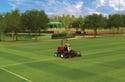lawnmower on a green field