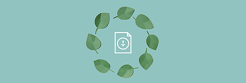 Green header graphics with a circle of leaves