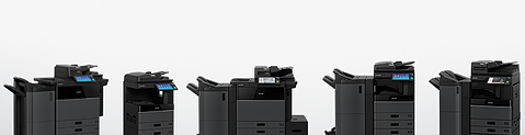 black copy machines lined up