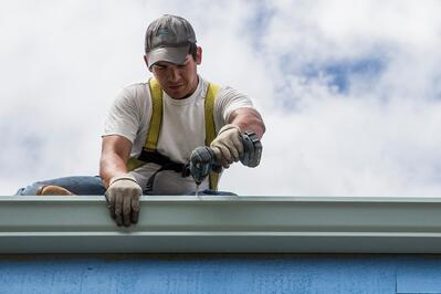 Contractor working on a roof