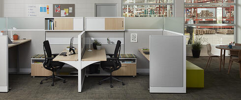 modern cubicle space with storage