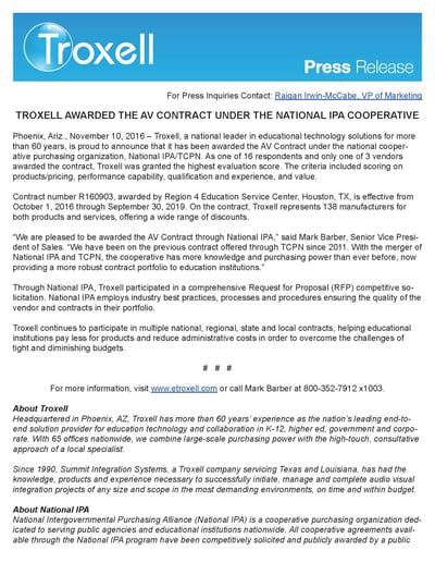 Thumbnail of Troxell AV Award Press Release