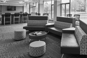 couches in lounge area of penn state university residence hall