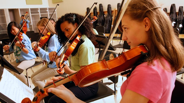 Children playing the violin