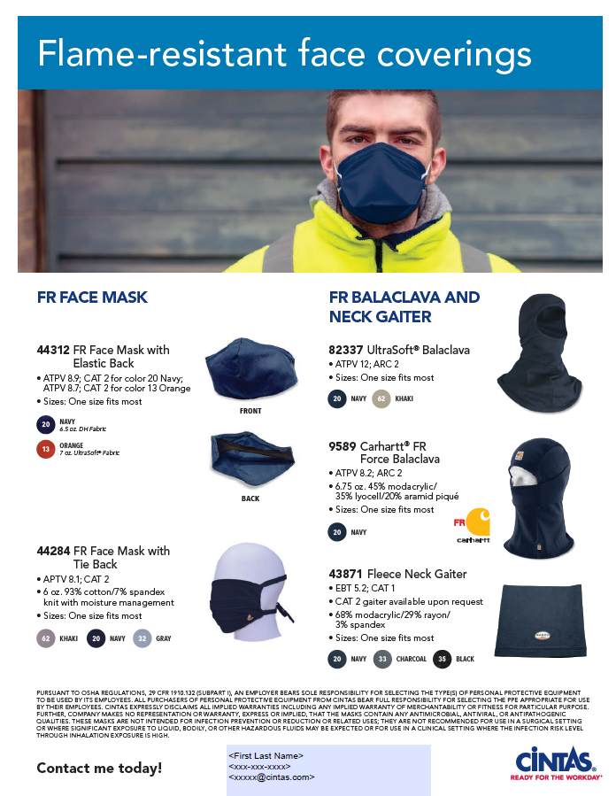 Flame Resistant Face Cover