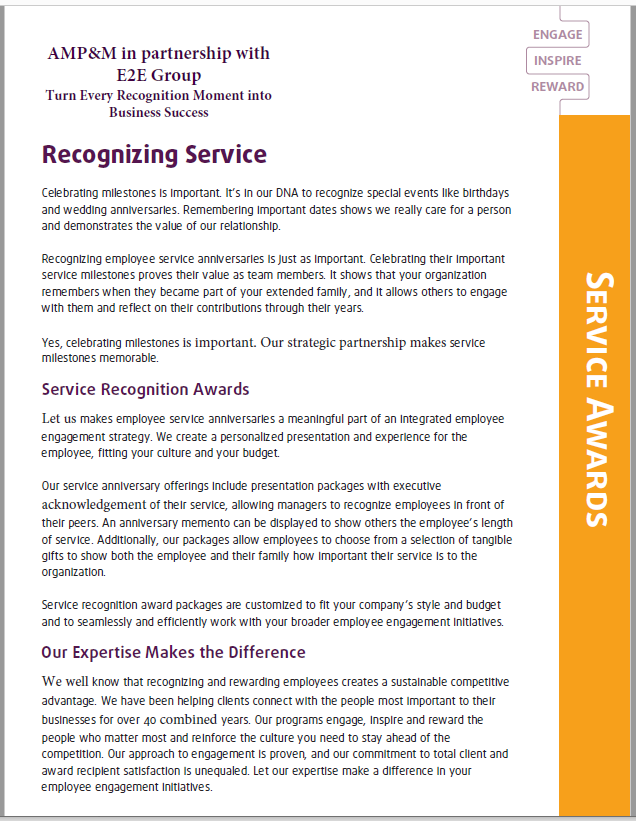 E2E Service Awards