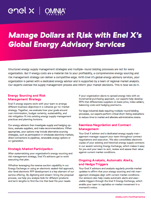 Manage Dollars at Risk with Enel X'sGlobal Energy Advisory Services