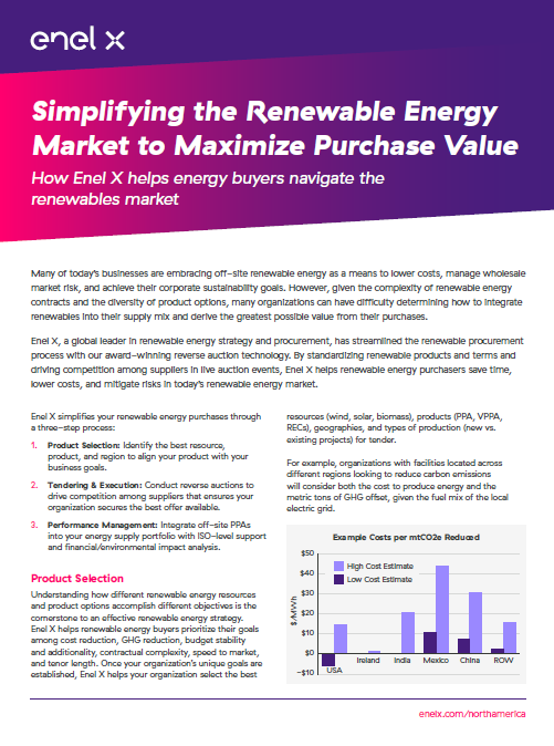 Simplifying the Renewable Energy Market to Maximize Value