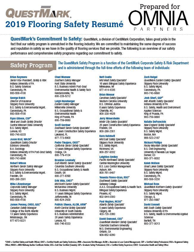 Safety Resume