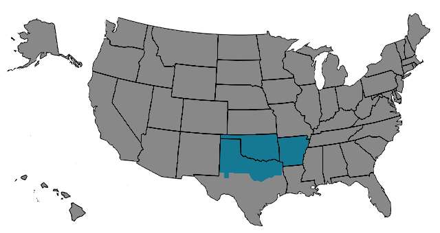 Region Oklahoma-Arkansas Map